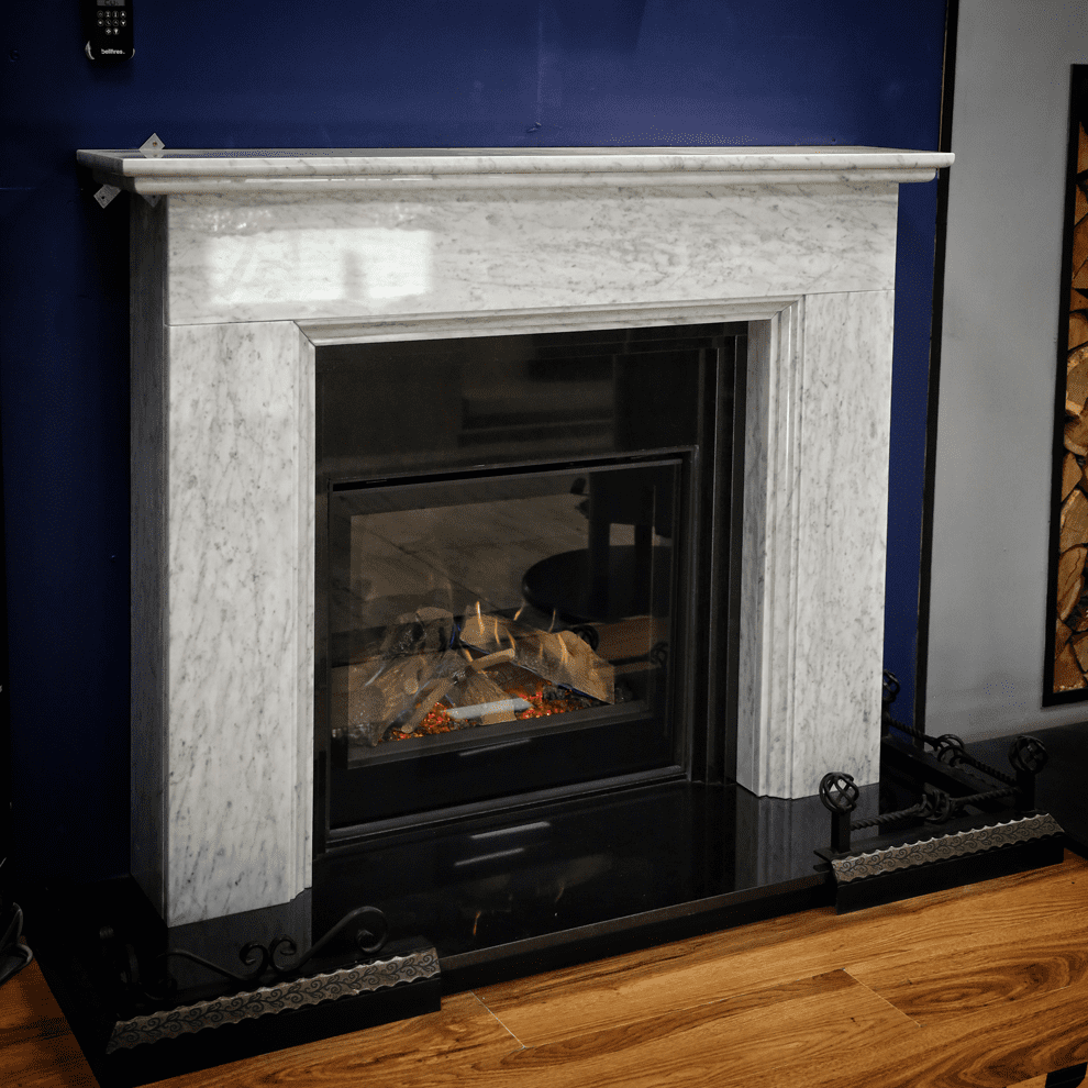 Chatsworth White Carrara Natural Marble Fireplace