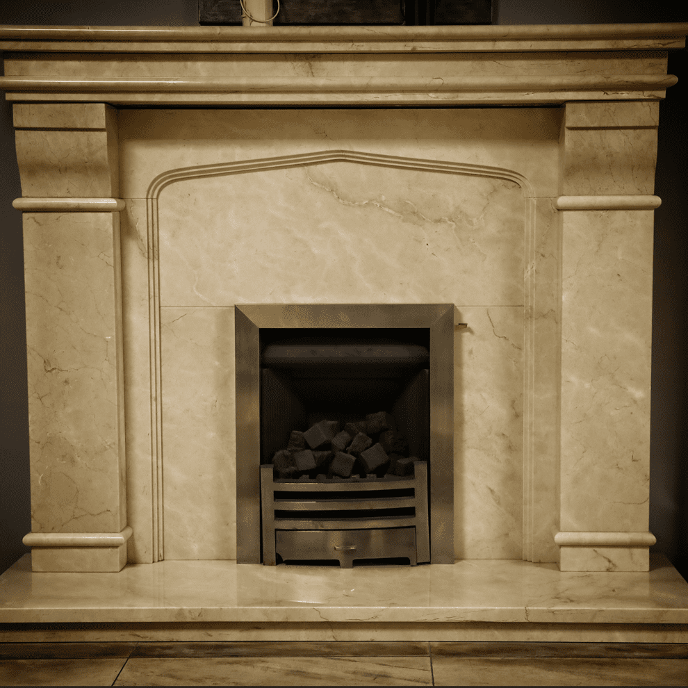 The Mourne Creme Marfil Natural Marble Fireplace